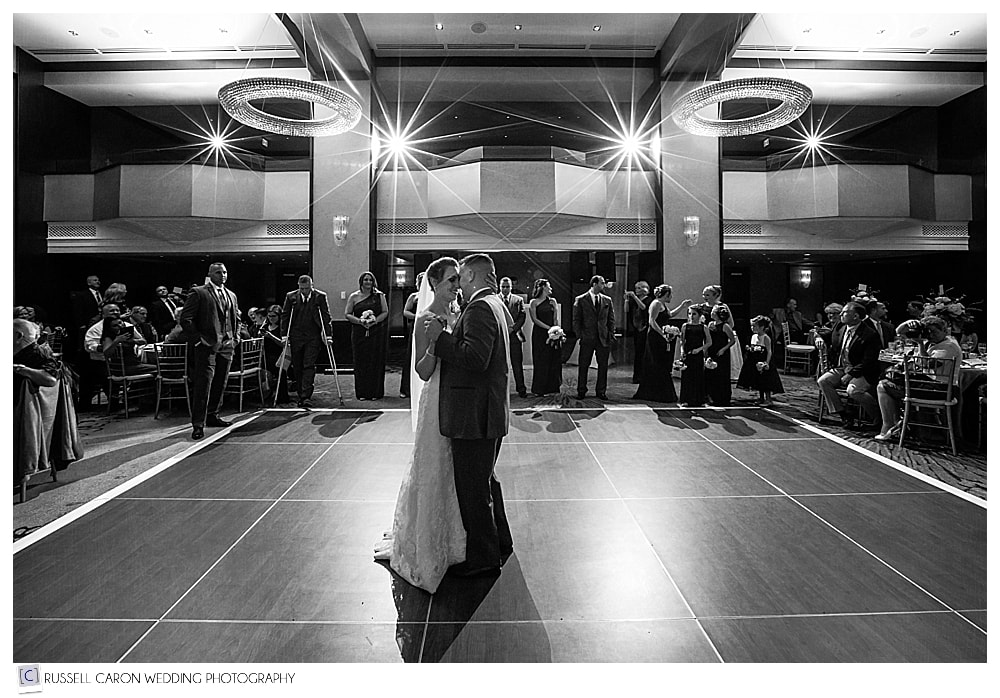 bride and groom's first dance at the Westin Portland Harborview
