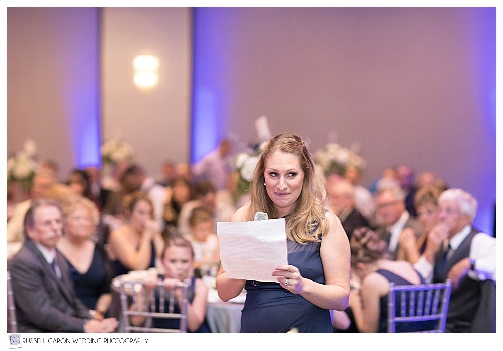maid of honor during wedding toast