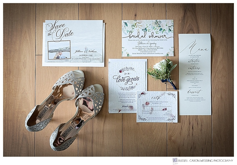 wedding day paper suite and Badgley Mischka shoes