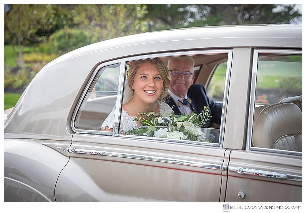 bride and her father in a champagne colored antique Bentley from Maine Limousine Company