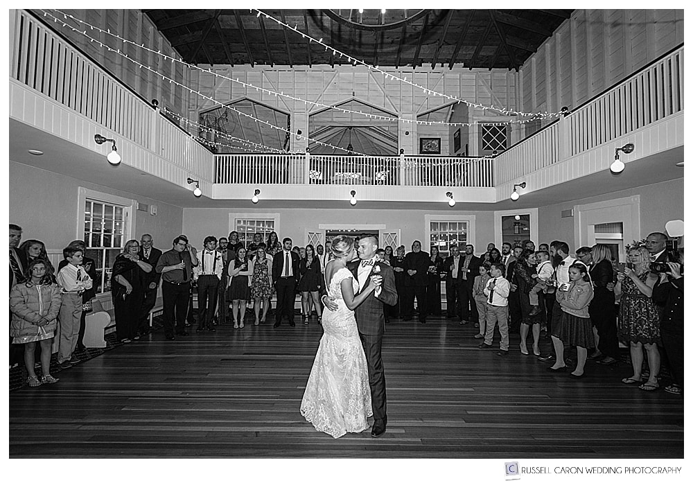 black and white photo of bride and groom during their first dance at York Golf and Tennis Club wedding reception