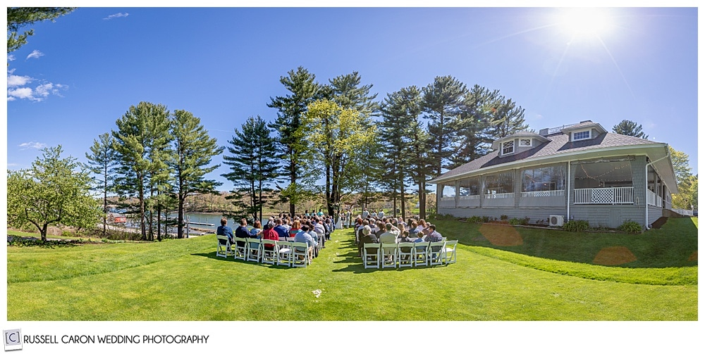 outdoor wedding ceremony with guests at the York Golf and Tennis Club, York Maine wedding