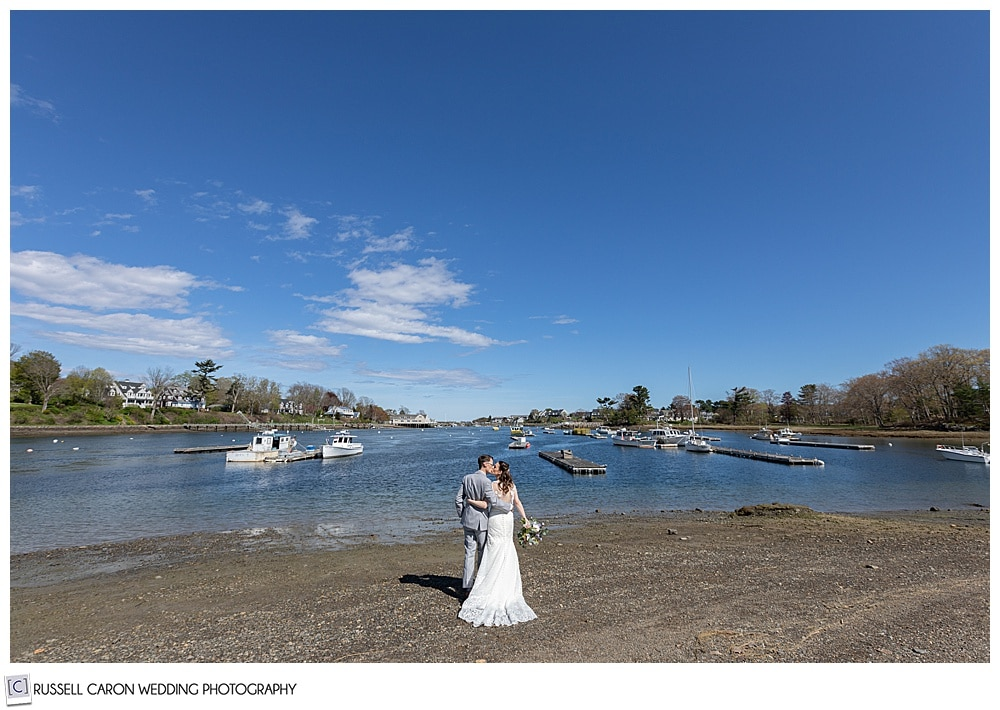 bride and groom on a beach on the York River, York, Maine