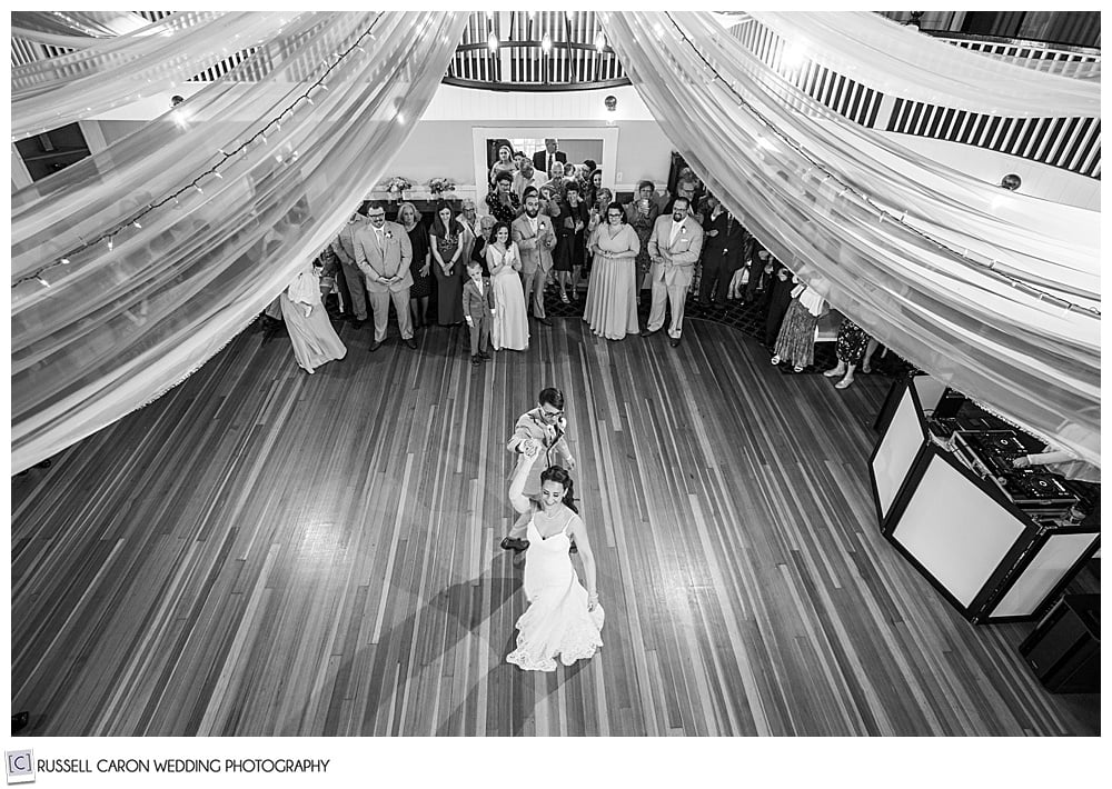 black and white photo of bride and groom dancing at the York Golf and Tennis Club