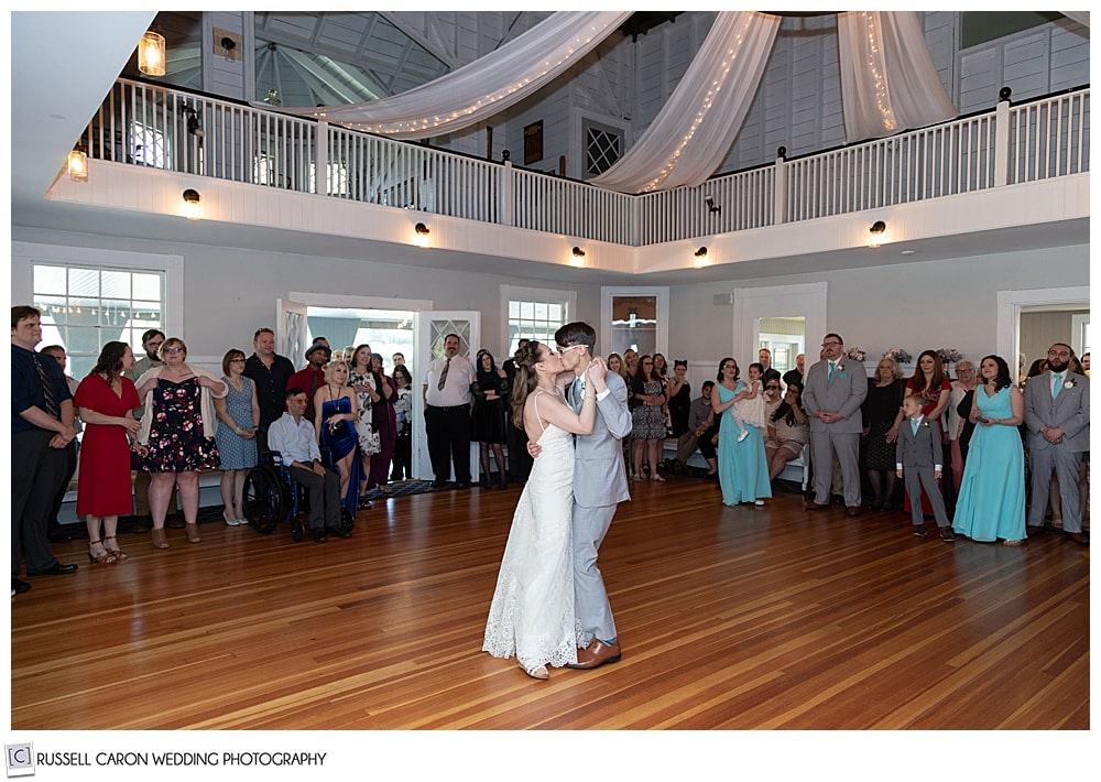 bride and groom during their first dance at the York Golf and Tennis Club, York Maine wedding