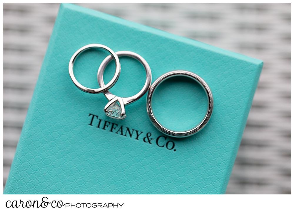 wedding rings on a blue Tiffany & Co box, Grey Havens Inn wedding