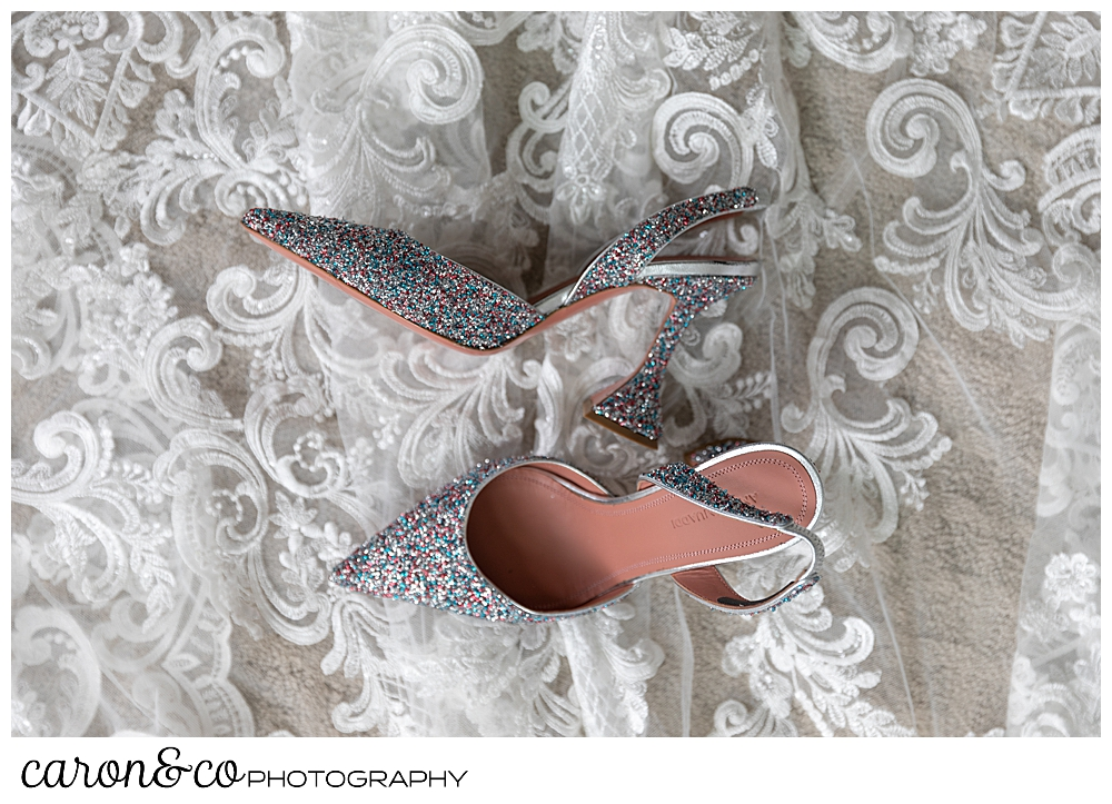 beautiful amina muaddi sparkly shoes for a Grey Havens wedding, Georgetown Maine