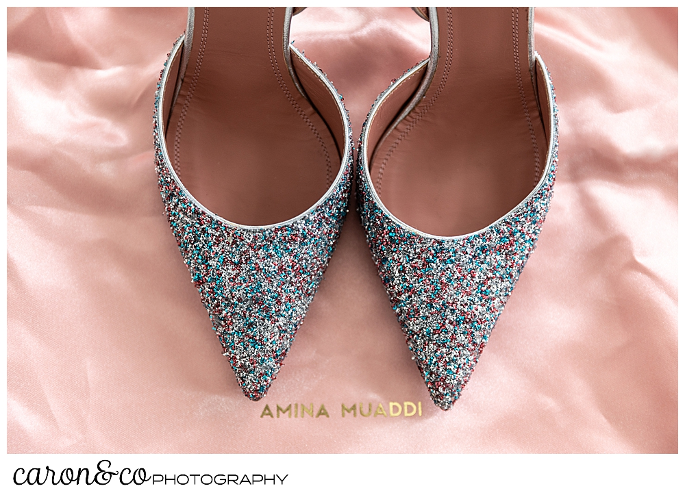 gorgeous amina muaddi shoes with multicolored sparkles for a Gray Havens Inn Maine wedding