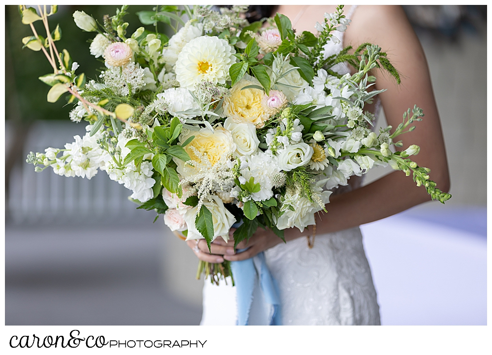 gorgeous white, yellow, pink and green wedding bouquet by Bad Rabbit Flowers, for a Grey Havens Inn wedding, Georgetown, Maine
