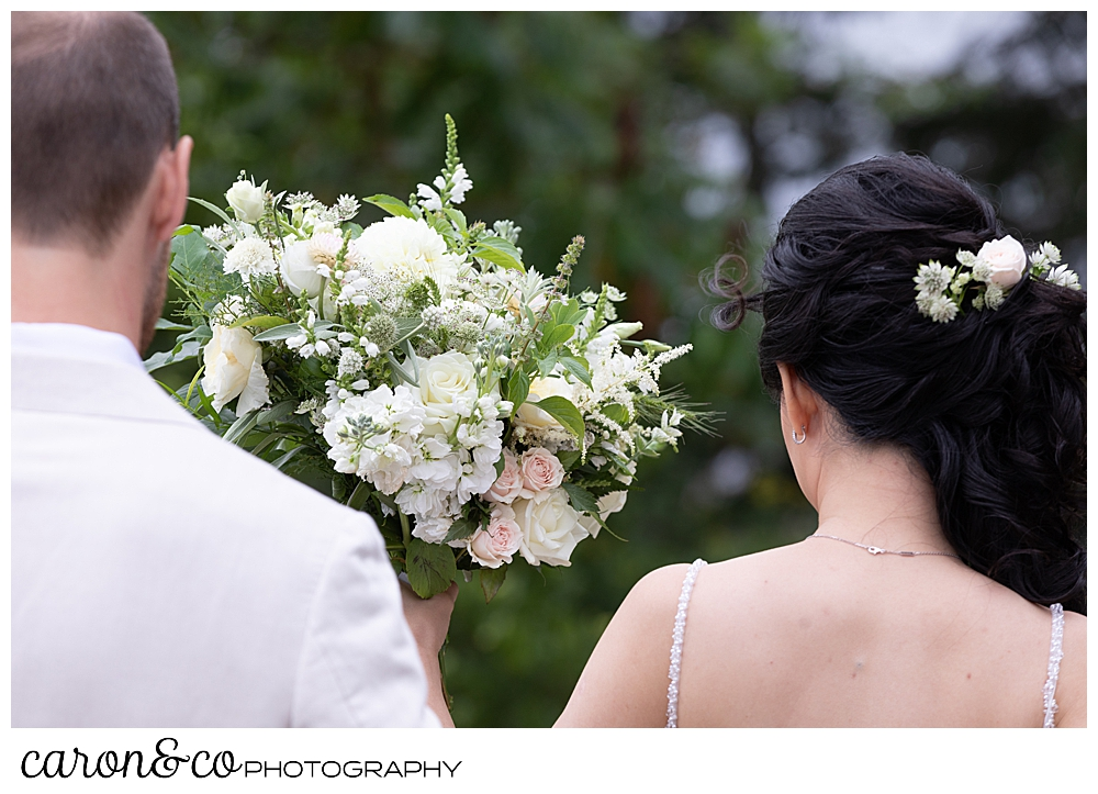 bride, groom, and Bad Rabbit Flowers bouquet at a Grey Havens Inn wedding, Georgetown Maine