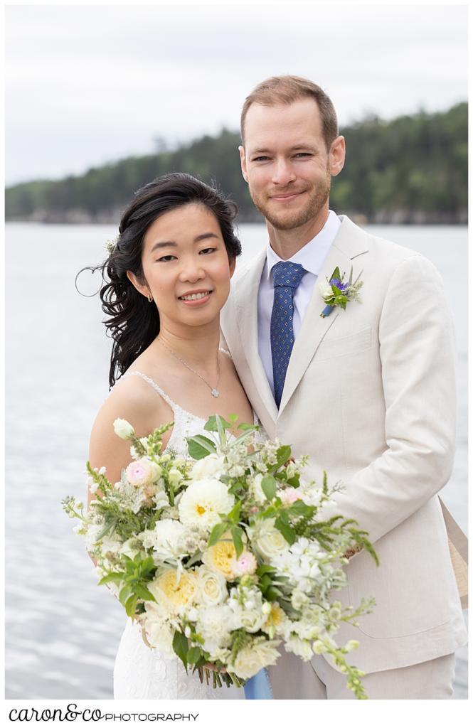 bride and groom portrait at coastal Maine Grey Havens Inn wedding, Georgetown Maine