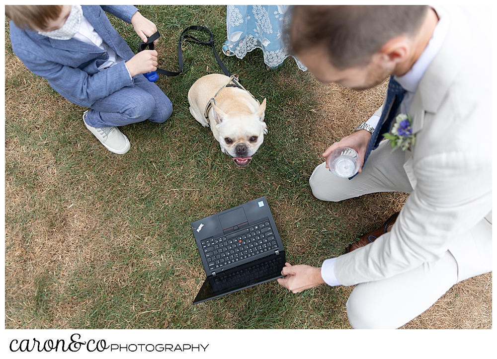 groom with computer surrounded by his dog, ring bearer, and flower girl at a Grey Havens Inn wedding