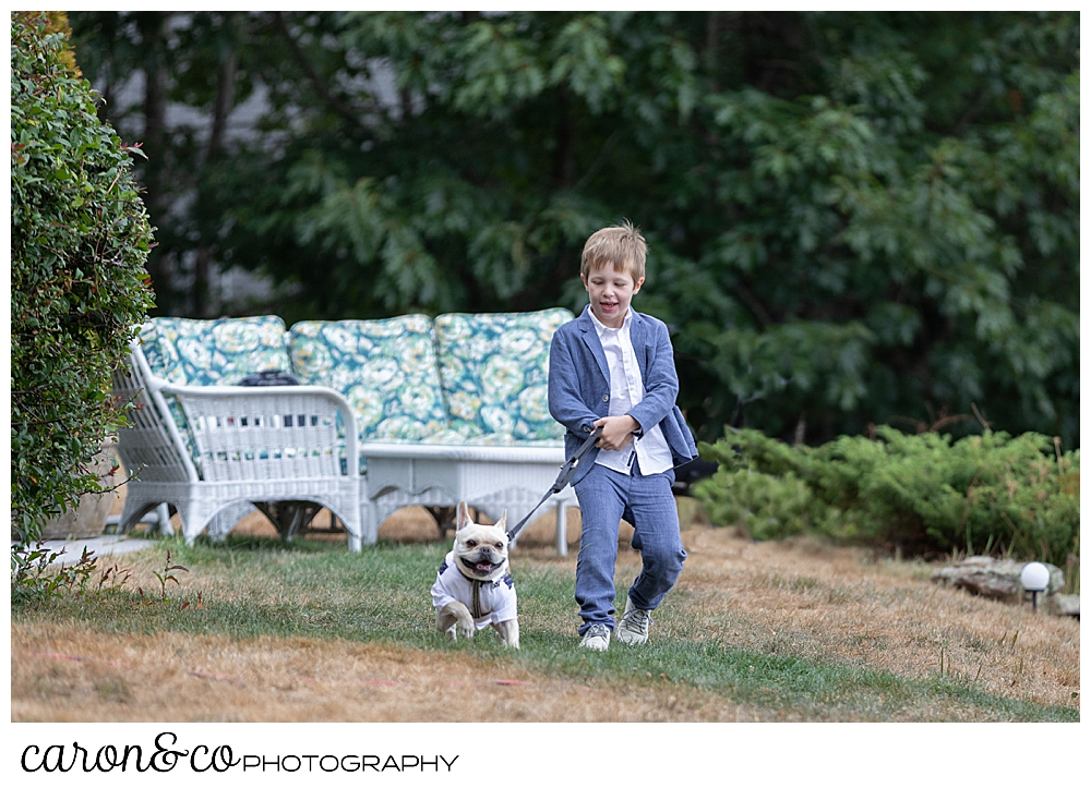 Ring bearer with dog in a tuxedo, approach a Grey Havens Inn wedding ceremony, Georgetown Maine