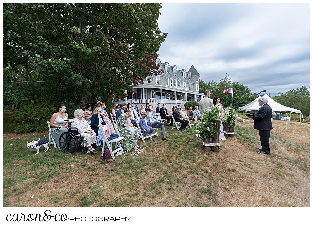 Grey Havens Inn wedding ceremony on the lawn, Georgetown maine