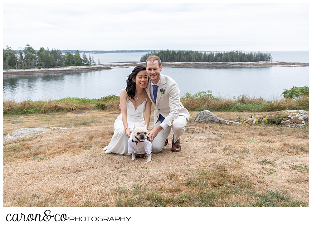 bride and groom with their dog on the lawn at their Grey Havens Inn wedding, Georgetown Maine