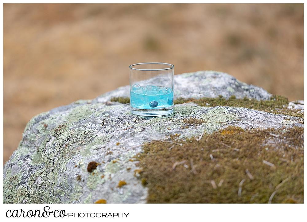 blueberry cocktail at Grey Havens Inn wedding reception