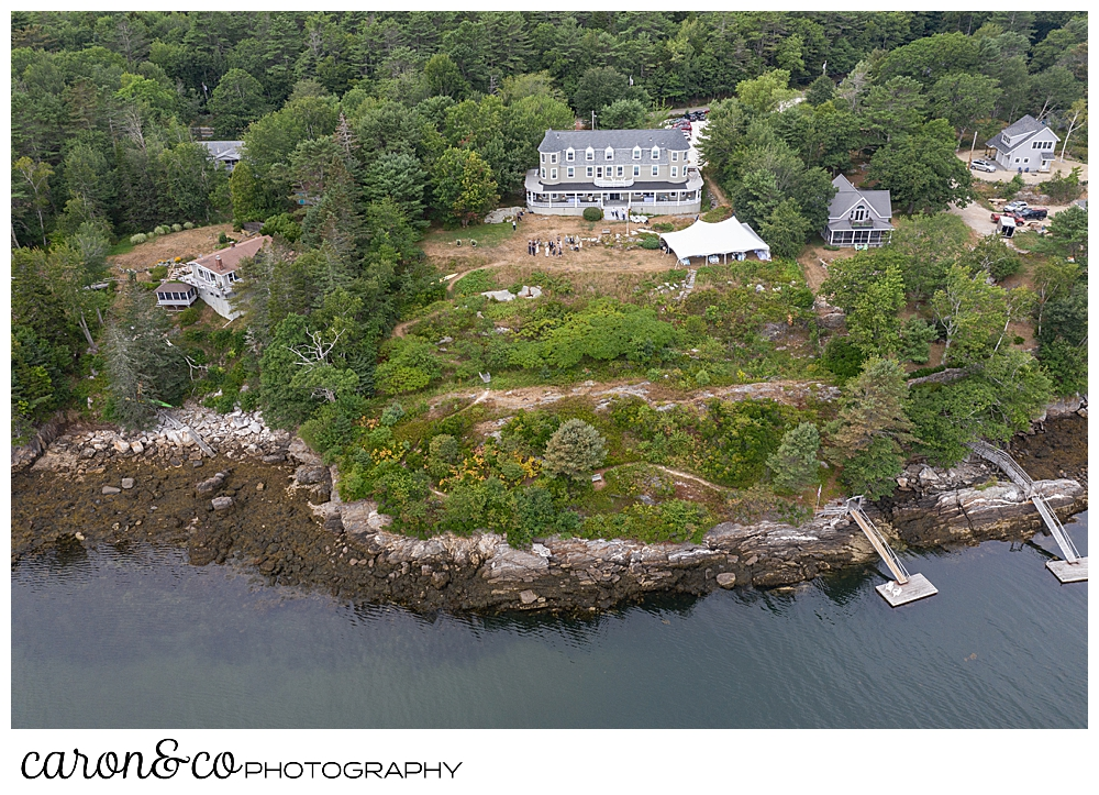 Drone wedding photo at a Grey Havens Inn wedding reception, Georgetown Maine