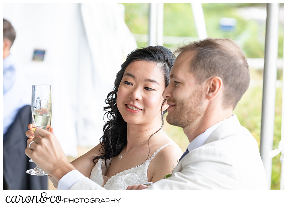 bride and groom clink glasses during their Grey Havens Inn wedding reception, Georgetown Maine