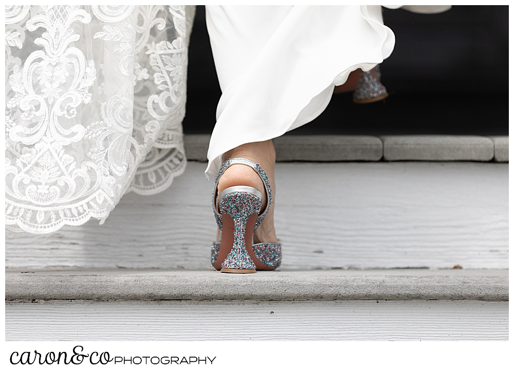 bride walking up the stairs, her lace train and sparkly shoes show on the stairs, Grey havens Inn wedding, Maine
