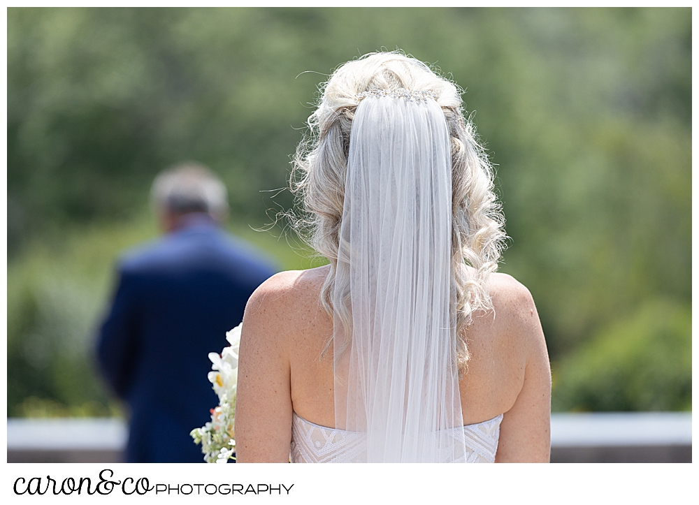 photo of a bride and groom just before their scarborough maine wedding