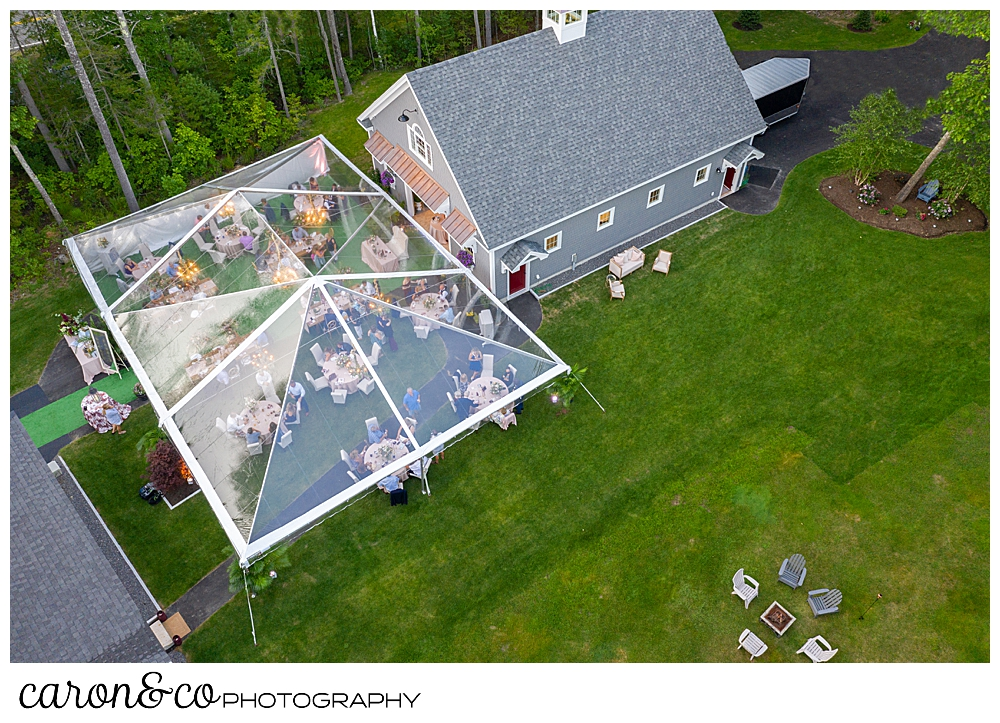 Maine drone wedding photo of a  Scarborough Maine wedding with a clear tent