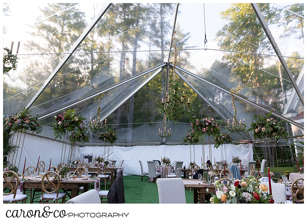 clear tented backyard reception at Scarborough Maine wedding
