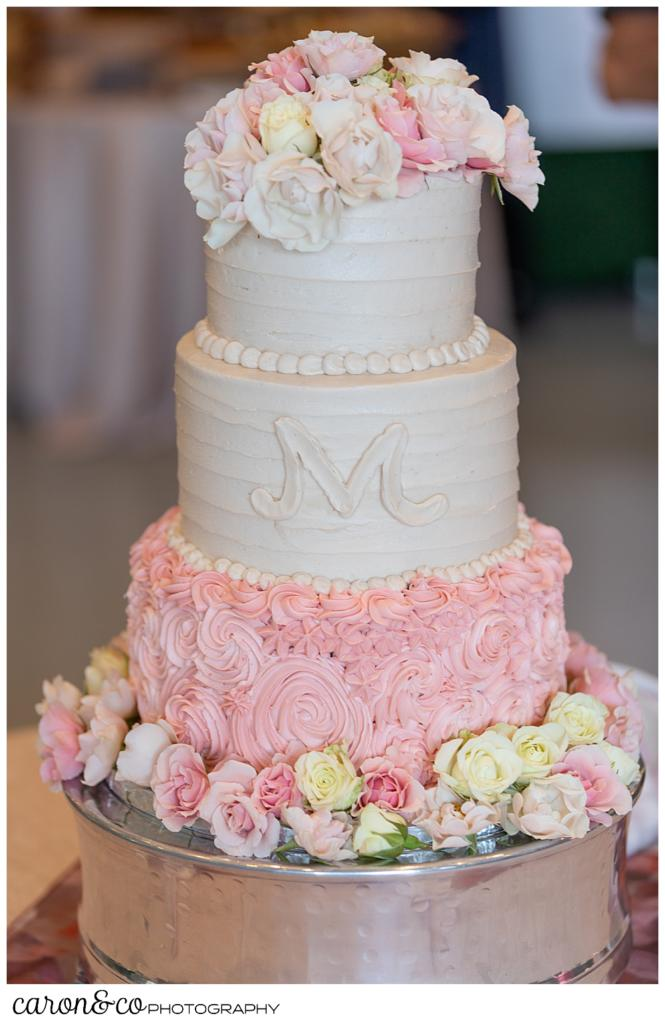 pink and white three tiered wedding cake, scarborough maine wedding