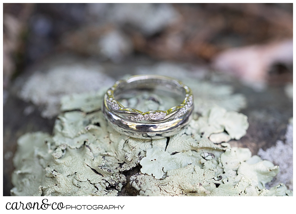 sweet summertime wedding ring detail photo on moss