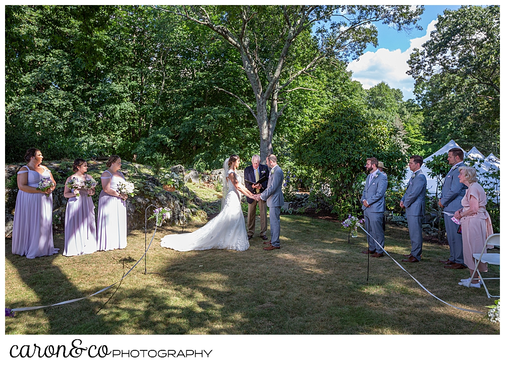 sweet summertime wedding ceremony under the trees