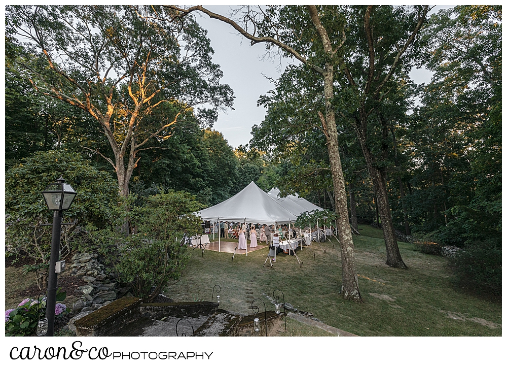 sweet summertime wedding reception tent in rhode island
