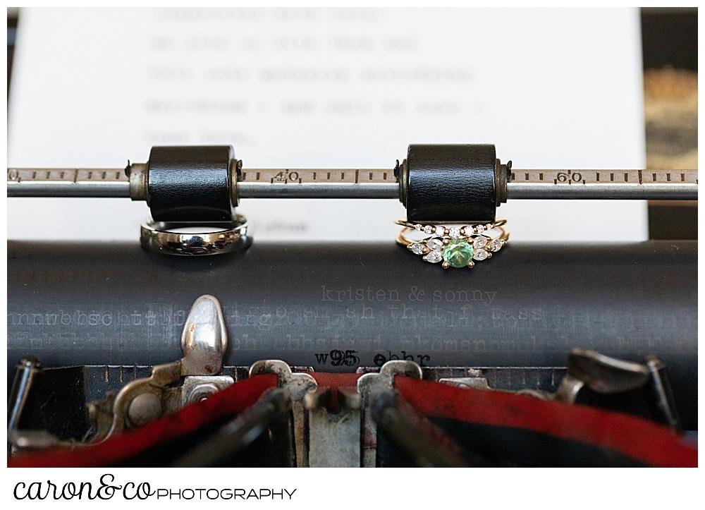 wedding rings on a manual typewriter, at a Portland Press Hotel wedding