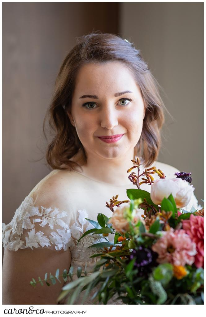 beautiful bridal portrait of a bride with her bouquet