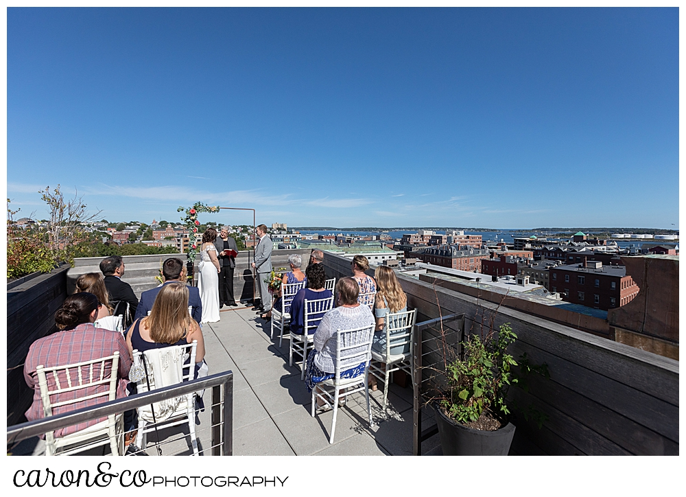 wedding ceremony on the rooftop at a Portland Press Hotel wedding