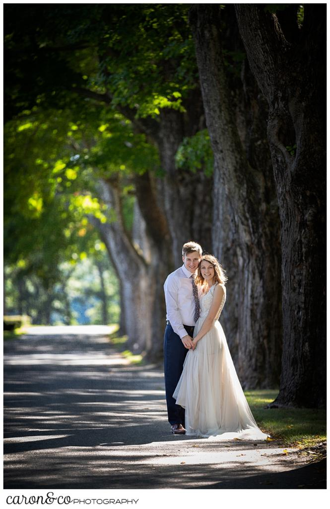 bride and groom standing in a road lines with tall trees
