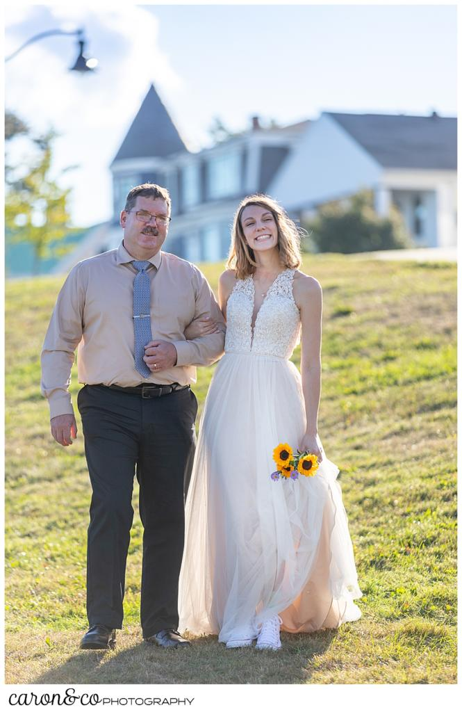 Bride and her father walking toward the sweet Portland Maine elopement site