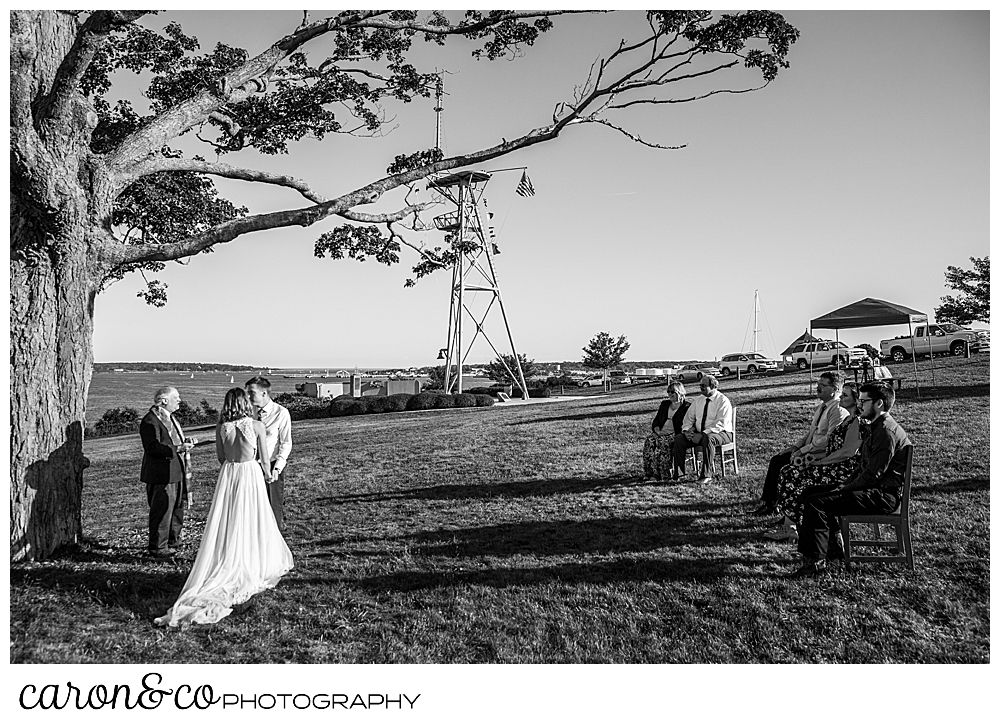 black and white photo of a sweet Portland Maine elopement on the Eastern Promenade at Fort Allen