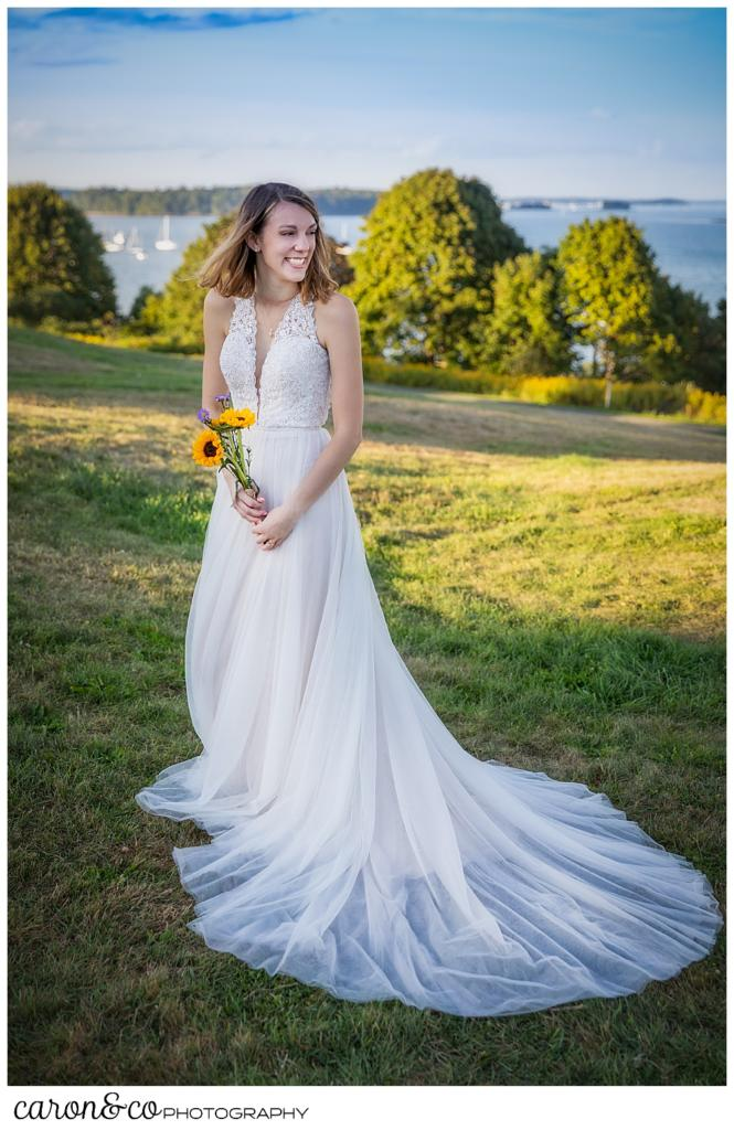 full length photo of a happy bride during her sweet Portland Maine elopement