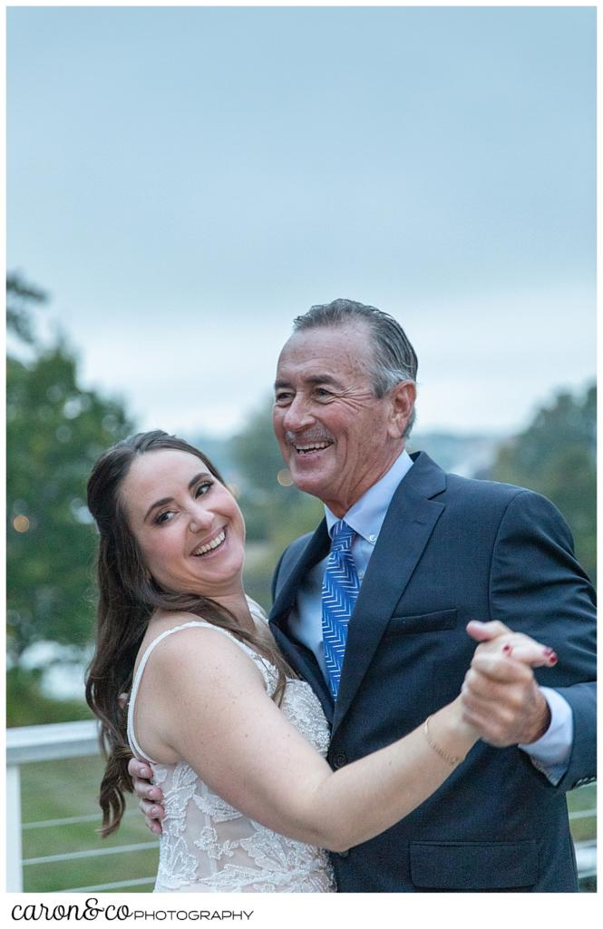 a father and daughter dance at a charming Kennebunkport Maine wedding reception