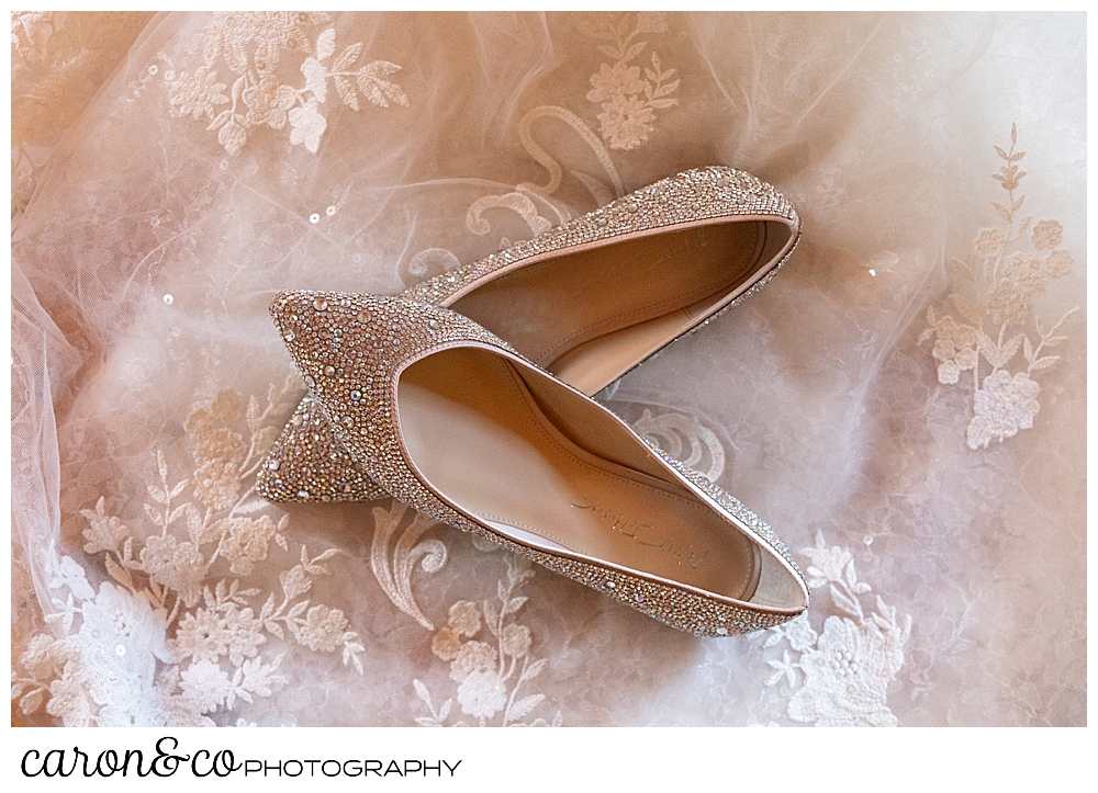 a pair of Betsey Johnson sparkly flats, on the train of a Martina Liana wedding dress