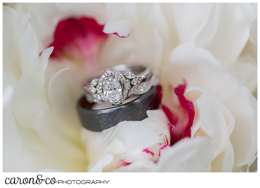 wedding bands in a white peony with touches of pink