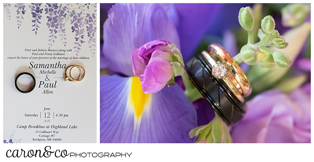 wedding day details, wedding rings, invitation, bridal bouquet