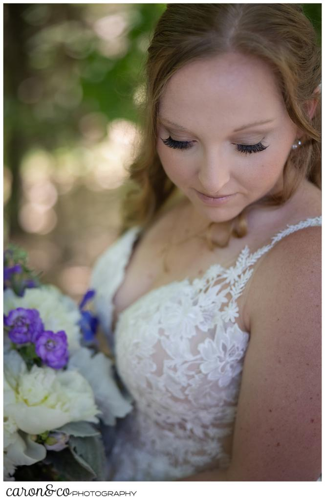 beautiful bridal portrait of a bride, with her eyes closed