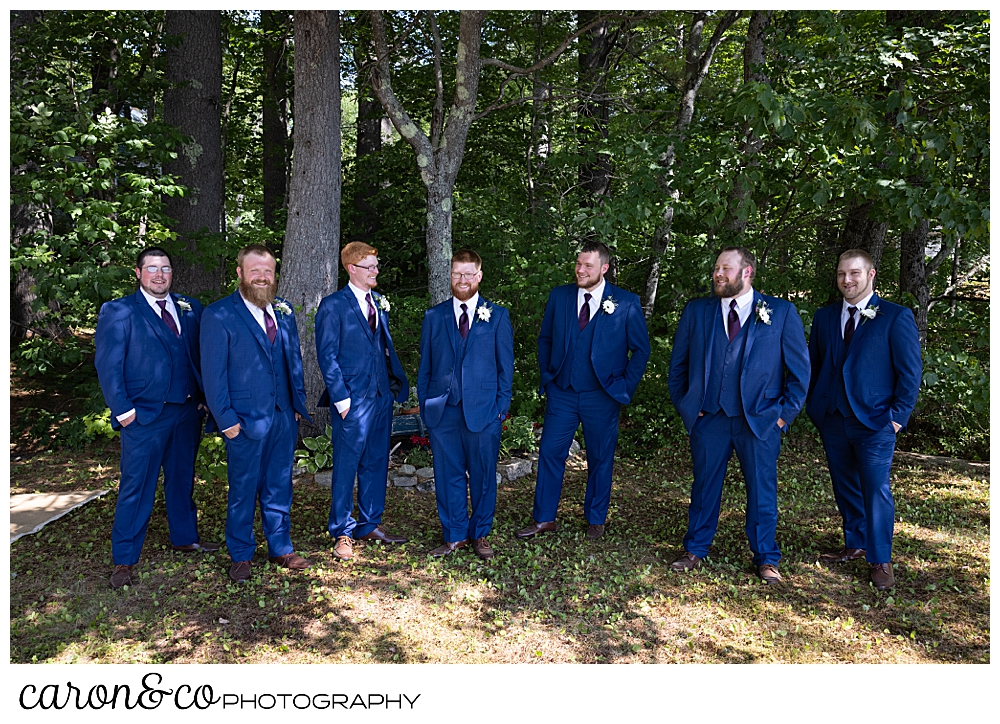 a groom and groomsmen in blue suits, standing in front of tall trees