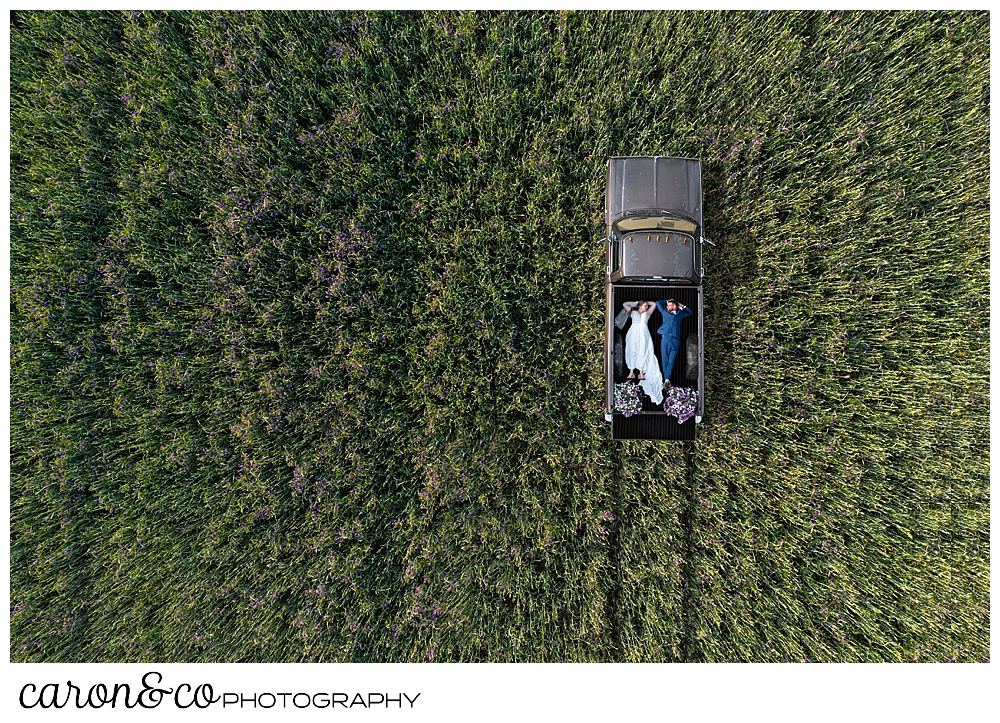 a maine drone wedding photo of a bride and groom lying in the truck bed of an antique truck, in a field of grass and flowers