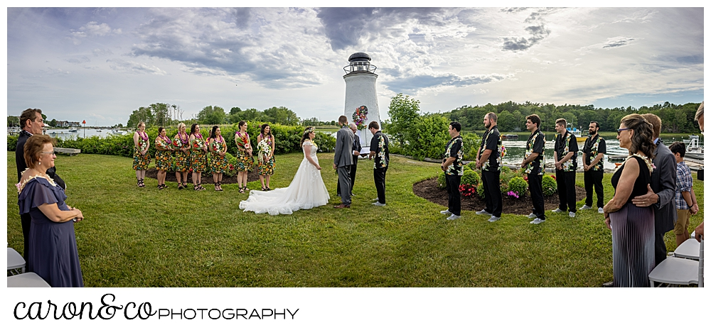 a panoramic view of an outdoor wedding ceremony at the Nonantum Resort, Kennebunkport, Maine