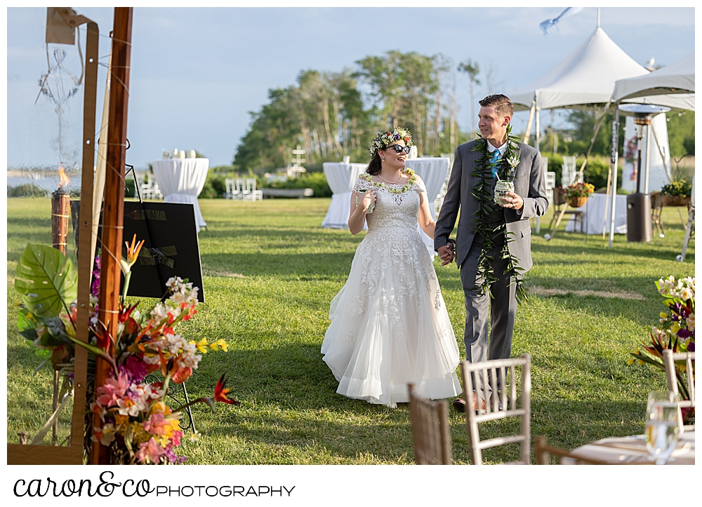 a bride and groom just before they enter their Nonantum Resort tented wedding reception, Kennebunkport, Maine