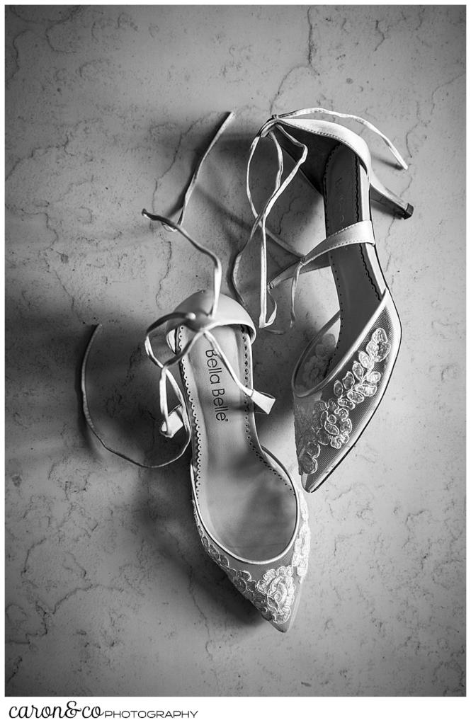 black and white photo of Bella Belle lace wedding shoes