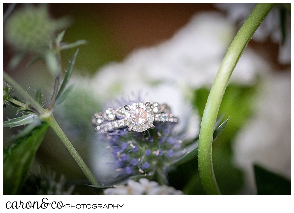 wedding ring detail set in a floral bouquet