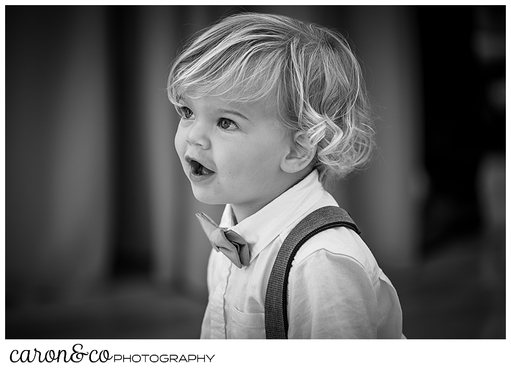 black and white photo of a small boy