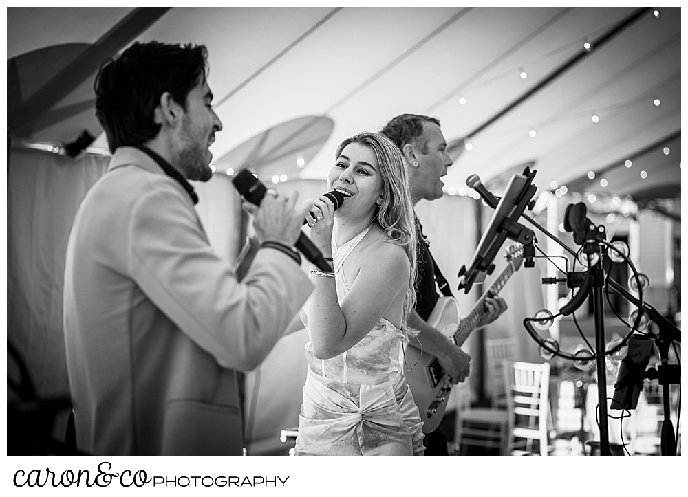 black and white photo of members of the band Cover Story Entertainment at a Nonantum Resort wedding celebration